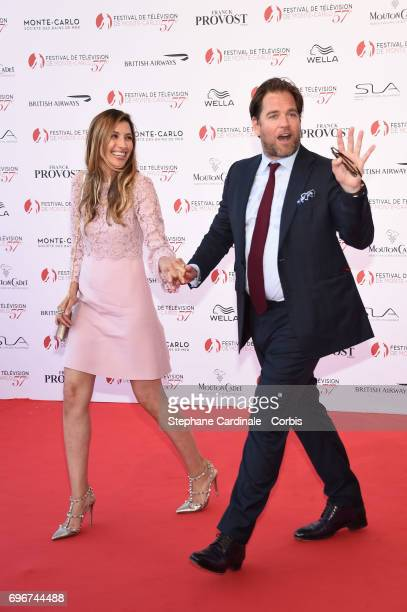 Bojana Jankovic and Michael Weatherly attend the 57th Monte Carlo TV Festival Opening Ceremony on June 16 2017 in MonteCarlo Monaco
