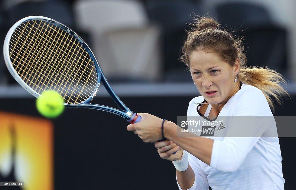 Bojana Jovanovski of Serbia hits a backhand in her second round match against Olivia Rogowska of Australia during day three of the Moorilla Hobart International at Domain Tennis Centre on January 7, 2014 in Hobart, Australia.