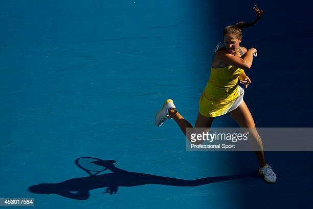 Bojana Jovanovski of Serbia plays a forehand in her fourth round match against Sloane Stephens of the United States during day eight of the 2013...