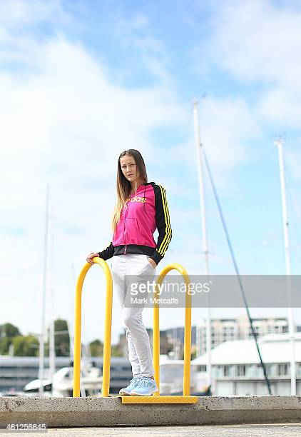 Bojana Jovanovski of Serbia poses for a portrait at Constitution Dock during day four of the Moorilla Hobart International at Domain Tennis Centre on...