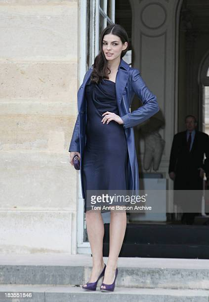 Bojana Panic attends the Christian Dior fashion show during Paris Haute Couture Fashion Week Spring/Summer 2009 at Musee Rodin on January 26 2009 in...