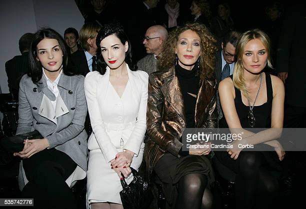 Bojana Panic Dita von Teese Marisa Berenson and Diane Kruger attend the Christian Dior Spring/Summer 20072008 Haute Couture fashion show during Paris...