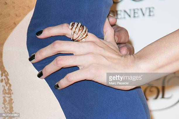 Bojana Panic ring detail attends the 'De Grisogono' La Boetie cocktail on January 28 2016 in Paris France