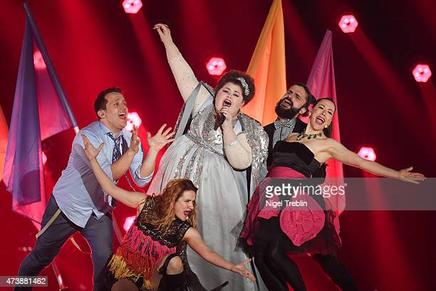 Bojana Stamenov of Serbia performs during a rehearsal of the first Semin Final on May 18 2015 in Vienna Austria The final of the Eurovision Song...