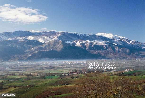 Bojano plain, with the Matese mountain range in the background, Molise, Italy.