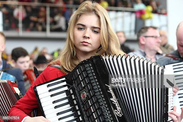 Bojano Poland 20th March 2016 371 musicians take part in an attempt to beat the record in performing a simultaneous score on accordion in Kashubian...