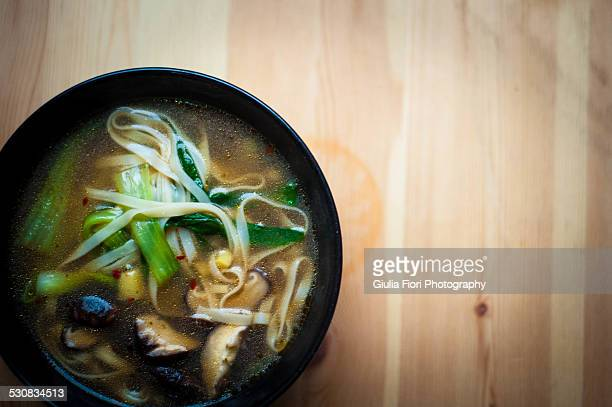 Bok Choi and Shiitake mushroom noodle soup