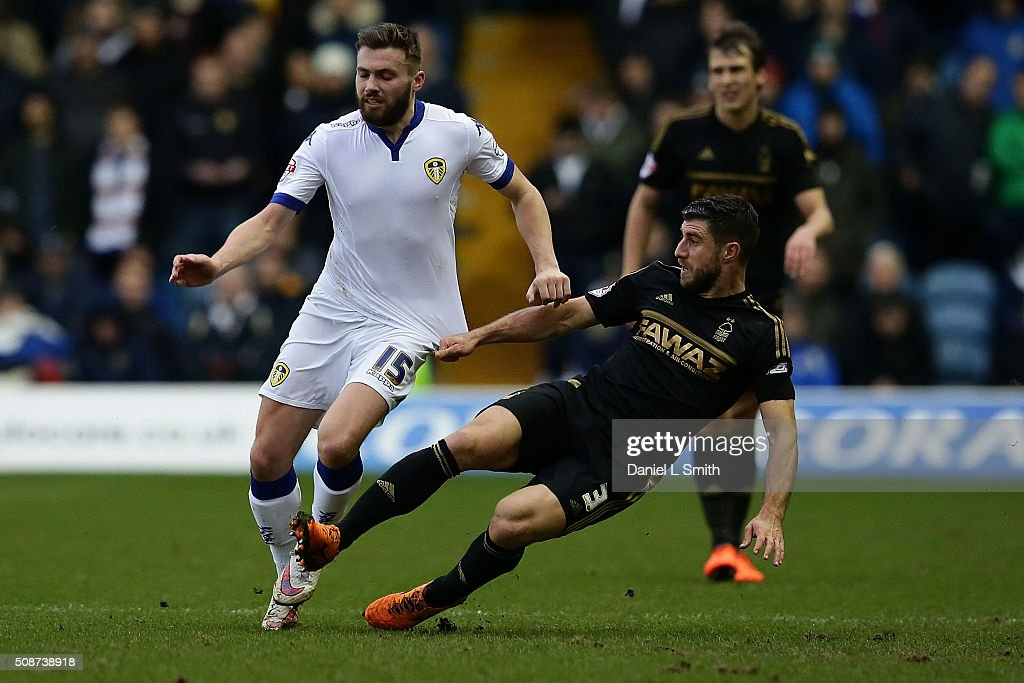 Bokan Jokic of Nottingham Forest FC under pressure from Stuart Dallas of Leeds United FC during the Sky Bet Championship match between Leeds United and Nottingham Forest on February 6, 2016 in Leeds, United Kingdom.