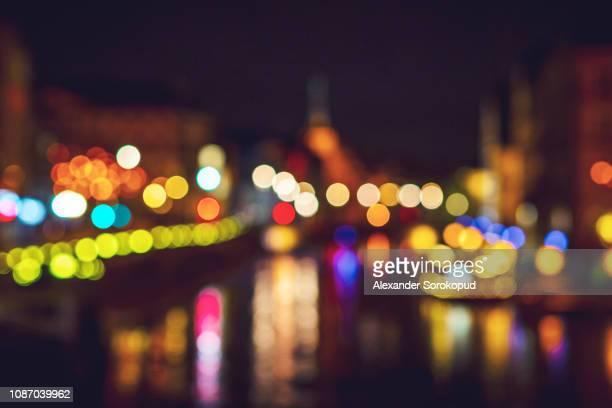 bokeh bubbles of non-focused cityscape view, strasbourg - non urban scene stock-fotos und bilder