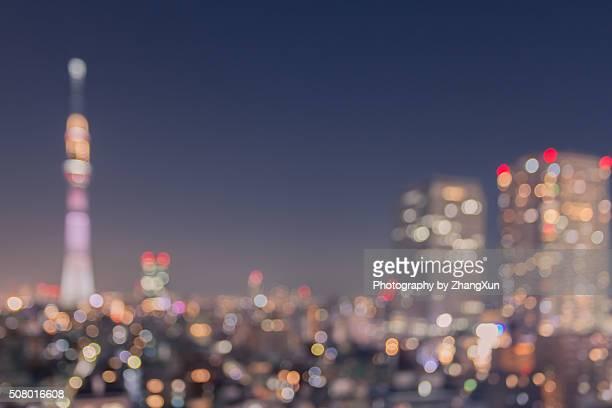 Bokeh image of Tokyo City night at Kinshityou Tokyo