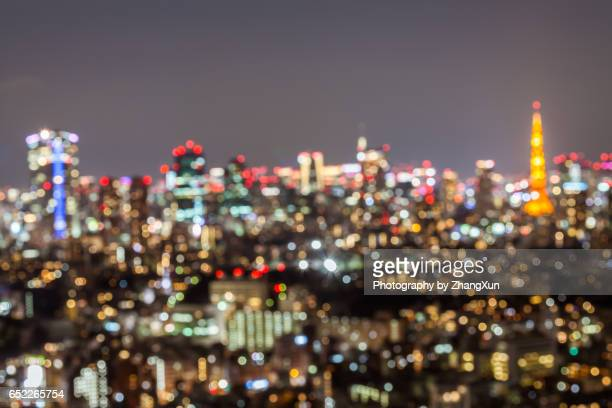 Bokeh image of Tokyo Cityscape from Ebisu Observatory at night.