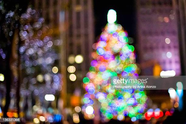 Bokeh light Christmas tree
