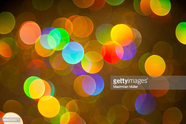 Bokeh of colorful lights with dark background