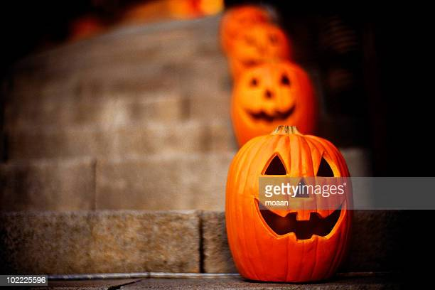 bokeh pumpkins - halloween pumpkin stock photos and pictures