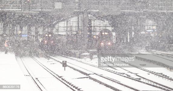Bokeh Winter City Snow Station in Berlin