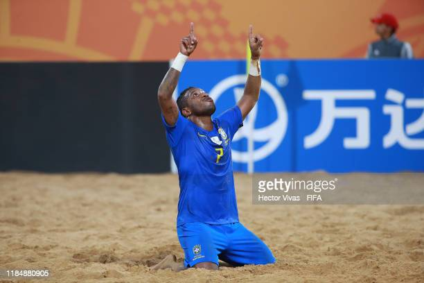 Bokinha of Brazil celebrates after scoring a goal of his team during the FIFA Beach Soccer World Cup Paraguay 2019 group D match between Nigeria and...