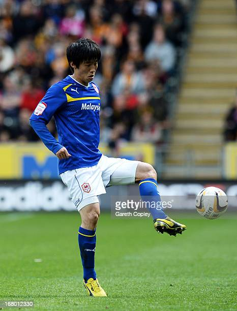 Bo-Kyung Kim of Cardiff during the npower Championship match between Hull City and Cardiff City at KC Stadium on May 04, 2013 in Hull, England.