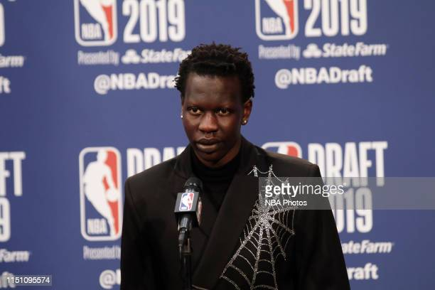 Bol Bol is interviewed after being drafted by the Miami Heat during the 2019 NBA Draft on June 20 2019 at the Barclays Center in Brooklyn New York...