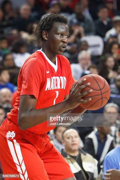 Bol Bol of Mater Dei High School shoots the ball during the game against Chino Hills High School at the Galen Center on February 24 2017 in Los...