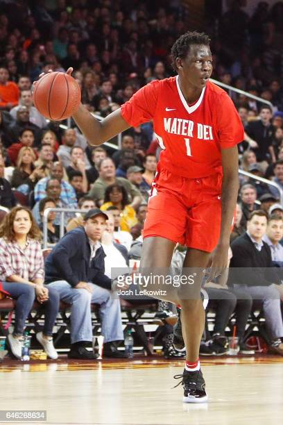 Bol Bol of Mater Dei lHigh School ooks for the open pass during the game against Chino Hills High School at the Galen Center on February 24 2017 in...