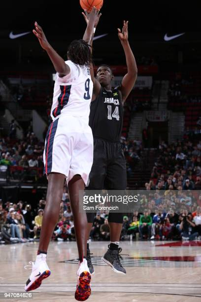 Bol Bol of Team USA goes up to block the shot against Team World during the Nike Hoop Summit on April 13 2018 at the MODA Center Arena in Portland...