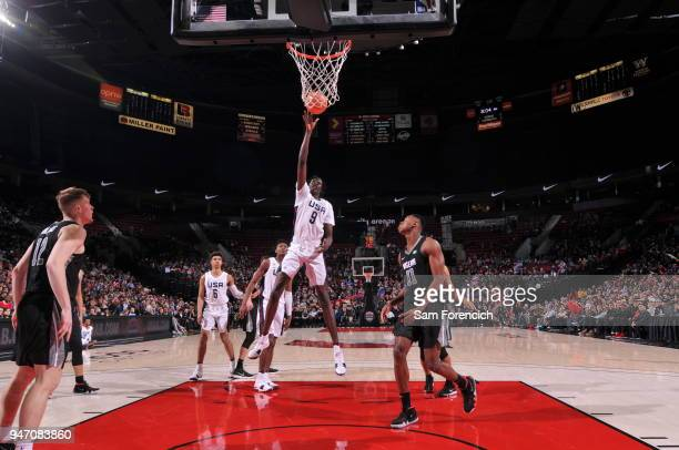 Bol Bol of Team USA shoots the ball against Team World during the Nike Hoop Summit on April 13 2018 at the MODA Center Arena in Portland Oregon NOTE...