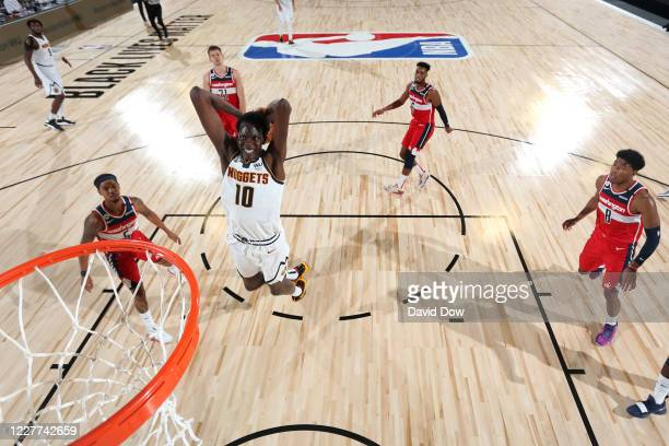 Bol Bol of the Denver Nuggets drives to the basket against the Washington Wizards during a scrimmage on July 22, 2020 at The Arena at ESPN Wide World...