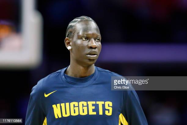 Bol Bol of the Denver Nuggets looks on against the LA Clippers before a preseason game on October 10 2019 at STAPLES Center in Los Angeles California...