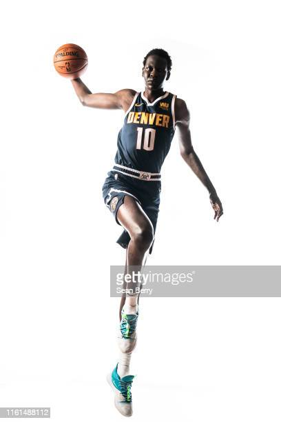 Bol Bol of the Denver Nuggets poses for a portrait during the 2019 NBA Rookie Photo Shoot on August 11 2019 at Fairleigh Dickinson University in...