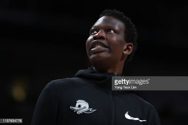 Bol Bol of the Oregon Ducks on the bench in the first half during the first round of the 2019 NCAA Men's Basketball Tournament at SAP Center on March...