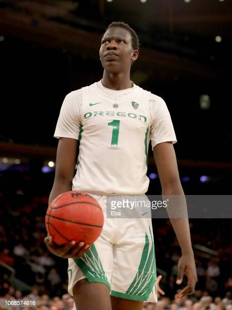 Bol Bol of the Oregon Ducks reacts to a call in the second half against the Syracuse Orange during the 2K Empire Classic at Madison Square Garden on...