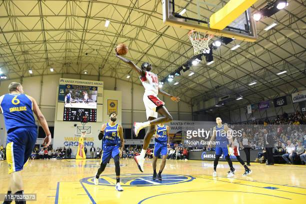 Bol Bol of the Windy City Bulls gets to the hoop for a dunk against the Santa Cruz Warriors during an NBA GLeague game on December 8 2019 at the...
