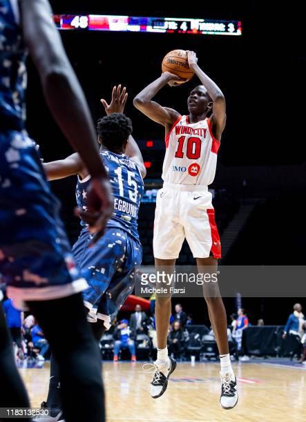 Bol Bol of the Windy City Bulls shoots against John Egbunu of the the Long Island Nets during an NBA GLeague game on November 17 2019 at NYCB Live...