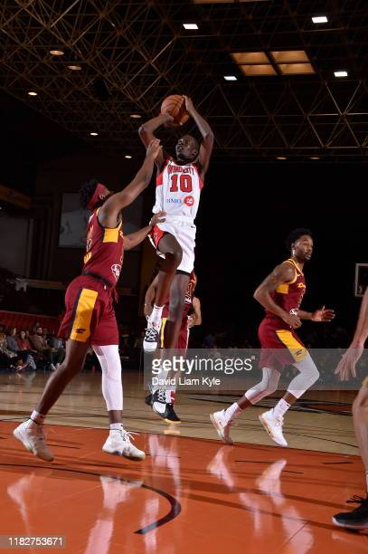 Bol Bol of the Windy City Bulls takes a jump shot against the Canton Charge during a G League game on November 15 2019 at the Canton Memorial Civic...