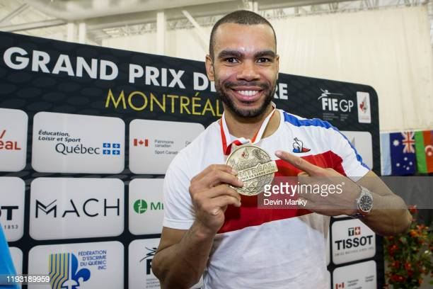 Bolade Apithy of France shows his gold medal won in the the Men's competition of the Canadian Sabre Grand Prix on January 11 2020 at the IGA Stadium...