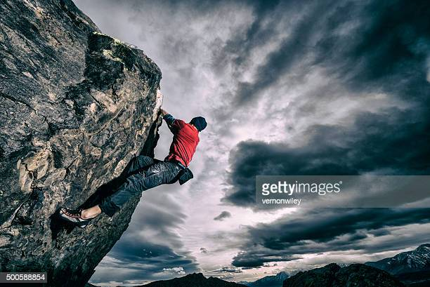 bold rock climber outside