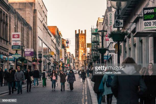 bold street located in the heart of liverpool city - town stock pictures, royalty-free photos & images