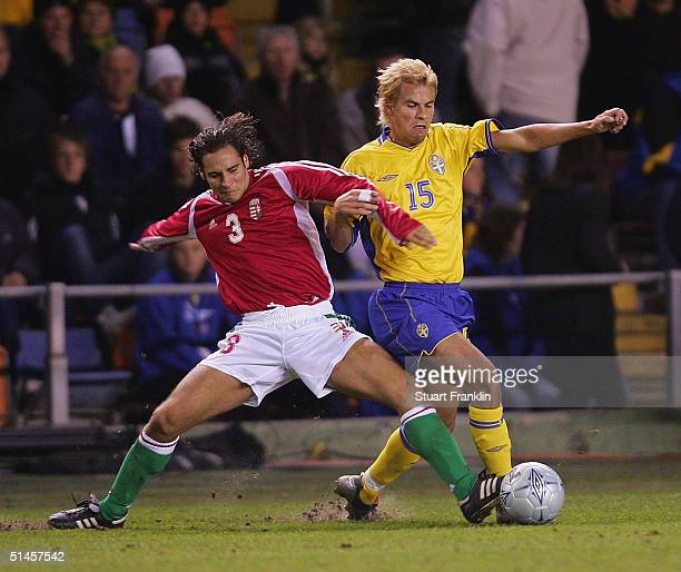 Boldizsar Bodnar of Hungary in action against Peter Simek of Sweden during The World Cup 2006 Qualification martch between Sweden and Hungary at The...