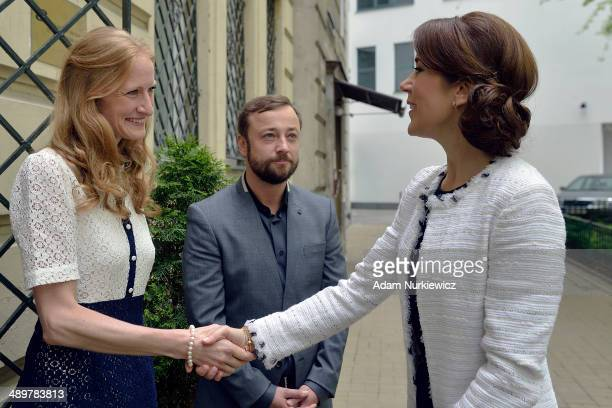 Bolette Roed Danish flutist greets Crown Princess Mary during her visit to the Danish Cultural Institute as part of her official visit on May 12 2014...
