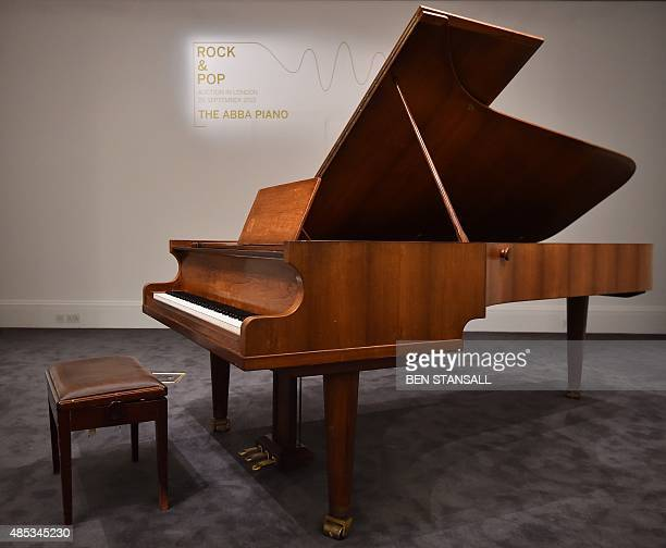 "Bolin Grand Piano,"" made by Swedish designer Georg Bolin, is pictured during a photocall to promote its forthcoming sale, at Sotheby's auction house..."