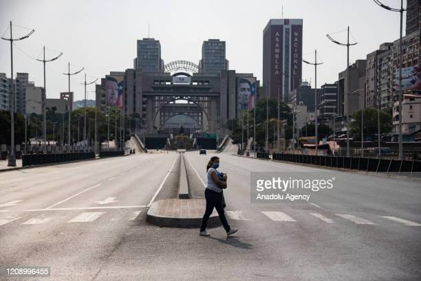 Bolivar Avenue is seen empty as a preventive measure against the new type of coronavirus pandemic in Caracas Venezuela on April 02 2020