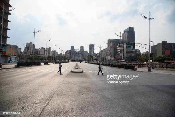 Bolivar Avenue is seen nearly empty as a preventive measure against the new type of coronavirus pandemic in Caracas Venezuela on April 02 2020