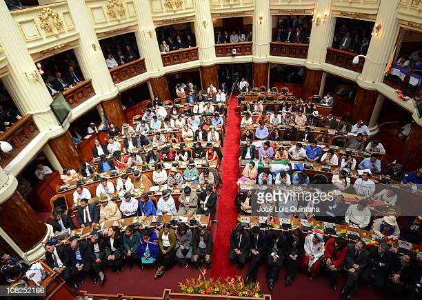 Boliva's president Evo Morales delivers a speech to the Legislative assembly of Bolivia during the celebration of his fifth year of government on...