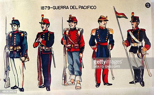 Bolivia 19th century Military uniforms at the time of the Pacific War
