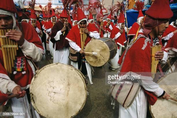 bolivia, la paz, el alto, musical procession at festival - el alto fotografías e imágenes de stock