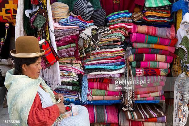Bolivia, La Paz, woman selling traditional clothes