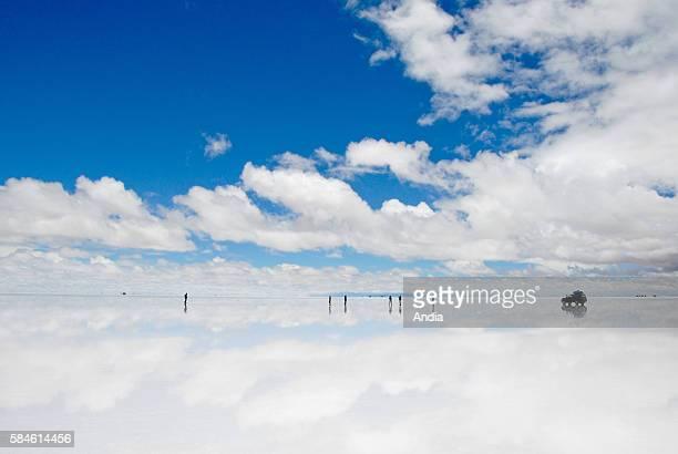 salt flat Salar de Uyuni in the Potos' department on the southwestern high plateaus the biggest salt desert in the world