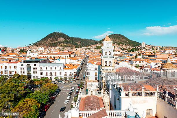 bolivia, sucre, city scape with cathedral - bolivia stockfoto's en -beelden