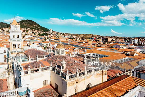 Bolivia, Sucre, City scape with cathedral