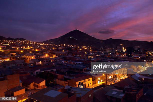 Nightfall showing a view of Cerro Rico and the city of Potosi below Most of the city's population of around 120000 are Quechua Indians who live by...